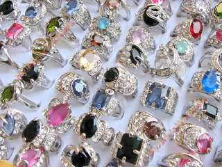 wholesale lot 25 Rhinestone Cubic Zirconia Silver rings