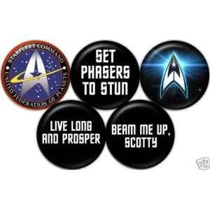 Set of 5 STAR TREK Pinback Button 1.25 Pin / Badge Retro Geek Sci Fi