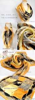 Scarf Shawl Leopard Zebra Pattern Orange Yellow Head Scarves