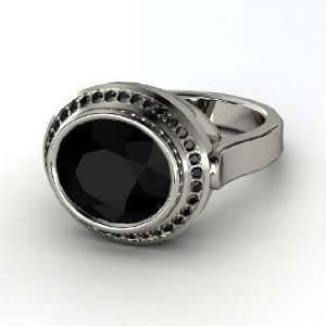 Racetrack Ring, Oval Black Onyx Sterling Silver Ring with