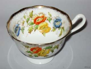 Royal Albert Crown China Cup & Saucer Blue Floral 7729