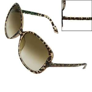 Como Lady Brown Clear Leopard Print Plastic Arms