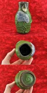 Antique Art Nouveau Green Pottery Blue Flower Vase