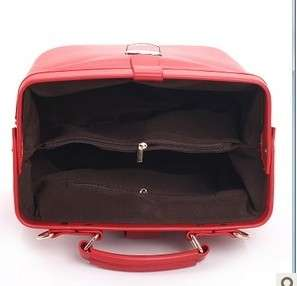 Red / Black Faux Leather Doctor Bag Shoulder Bag Handbag