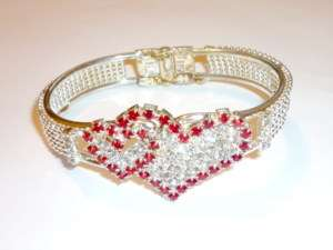 Silver Red Crystal Small Large Rhinestone Heart Bangle
