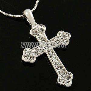 18K White Gold Plated Cross Pendant Necklace 12648