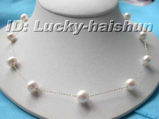 AAA 10mm 14K solid Gold Chain white pearl necklace