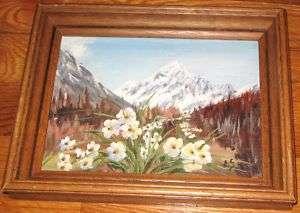 Mt. Hood New Zealand Oil Painting Signed E.S. Framed