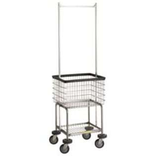 Deluxe Elevated Wire Frame Metal Laundry Cart with Double Pole Rack