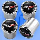 C6 Corvette Chrome Black Flags Logo Valve Stem Caps
