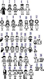 Stick People Family Decal / Sticker  You Pick Color