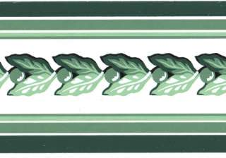 Green White Stripe Leaf Garland Small Wall paper Border