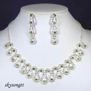 Swarovski Lime Green Crystal Dangler Necklace SetS1585G