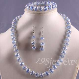 Blue Swarovski Crystal Faceted Beads Necklace +Bracelet+ Earrings