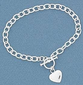 heart info sterling silver rolo style charm bracelet w heart mat l 925