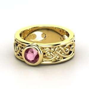 Alhambra Ring, Round Rhodolite Garnet 14K Yellow Gold Ring Jewelry