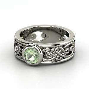 Alhambra Ring, Round Green Amethyst Sterling Silver Ring Jewelry