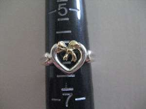 TIFFANY & CO 18K Gold Bow Sterling Silver Heart Ring 6