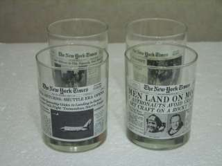 LIMITED EDITION SET OF 4 NEW YORK TIMES BEVERAGE GLASSES