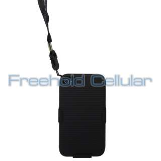 Black Hard Shell Case w/ Slide Front Cover and Strap for iPhone 4S