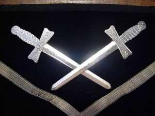 / Vintage Knights Templar Masonic Skull & Bones Black Apron. Ames