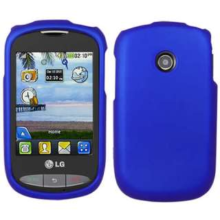 Tracfone LG 800G Net10 Blue Rubberized Hard Case Cover +Screen