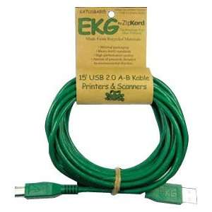 EKG High Speed USB Cable Green 15ft Card A B 480Mbps