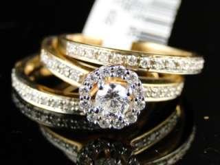 DIAMOND 3 RING ENGAGEMENT WEDDING RING BAND BRIDAL TRIO SET