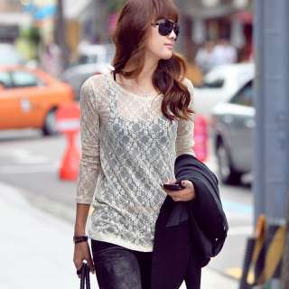 CHIC CREW NECK LONG SLEEVE LACE T SHIRT SLIM 1978