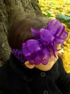 Boutique BIG Hair Bow Headband PURPLE Organza Cicis