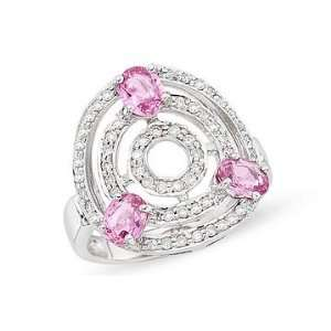 Carat Diamond and Pink Sapphire 14K White Gold Ring Jewelry