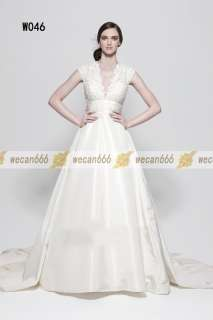 White/Ivory Bright Satin Venice lace Wedding Dress Bridal Gown A Line