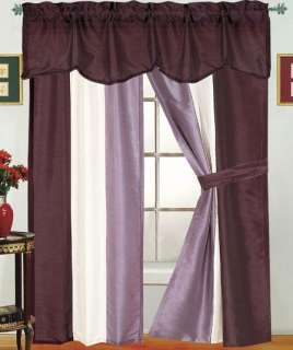CONTEMPORY 5 PIECE REFLECTION WINDOW TREATMENT CURTAIN SET AVAIL. IN 3