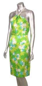 Retro Floral Print Beaded Halter Silk Dress Green 8P petite