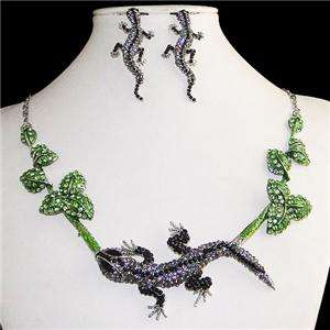 Gecko Floral Leaf Necklace Earring Set Rhinestone Crystal Black