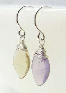 Ametrine Marquis Briolette Silver Wire Wrap Earrings