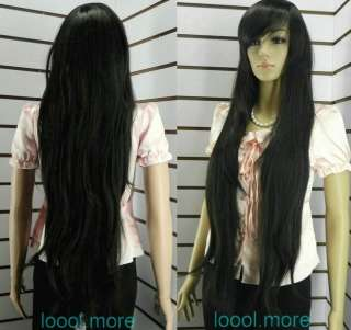 Stylish Extra long Straight black Women wig + cap #47