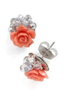 Streamside Rosebush Earrings   Pink, Beads, Flower