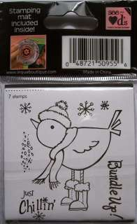 Just Chilling Bird Winter Christmas unmonted Rubber Stamps Inque