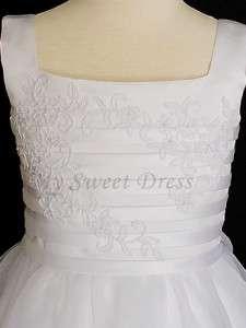 White Satin Applique Flower Girl 1st Communion Dress 8