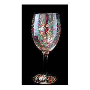 Gold Leopard Design   Hand Painted   Wine Glass   8 oz