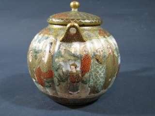 Nice Antique Japanese Satsuma Teapot Signed Gilt Kwannon Lohans