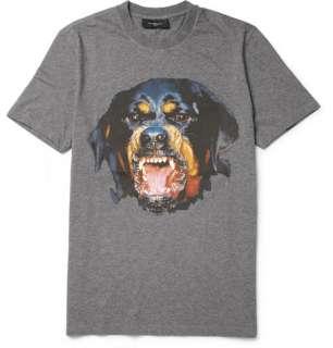 shirts  Crew necks  Rottweiler Print Cotton Jersey T Shirt