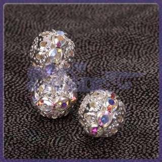 10 Pcs JEWELRY Bracelet MAKE Metal Crystal Rhinestone Silver Spacer