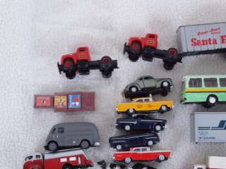 Mini Metals/Athearn + N Scale Large Lot of Cars/Trucks/Tractor Trailer