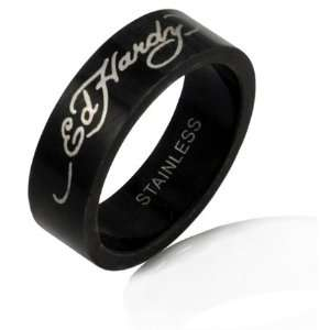 Ed Hardy Stainless Steel Black Ring with Silver Ed Hardy Script   size