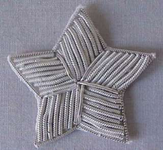 Hand Embroidered, Star Appliques. Silver Bullion