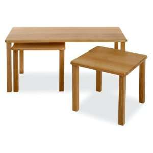 3pcs Beech Wood Nesting Coffee & End Tables Set