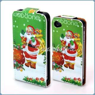 Christmas Santa Claus Leather Skin Case Cover for iPhone 4 4G 4S Xmas