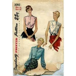 Pattern Misses Scalloped Collar Blouse Size 14: Arts, Crafts & Sewing